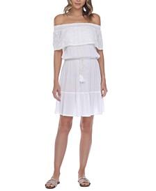 Crochet Off-The-Shoulder Cover-Up Dress