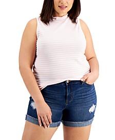 Trendy Plus Size Textured Mock-Neck Sleeveless Top