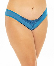 Plus Size Crotchless Thong with Pearls and Venise Detail