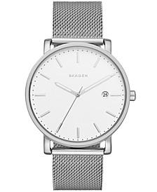 Men's Hagen Silver-Tone Stainless Steel Mesh Watch, 40 mm