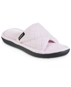 Women's Memory Foam Diamond Quilted Microterry Slide Slippers