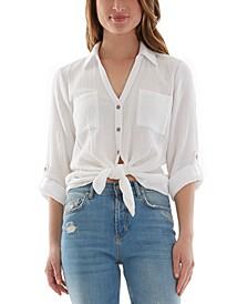 Juniors' Tied-Hem Button-Front Shirt