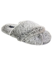 Frosted Faux Fur Crossband Slippers