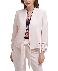 Ruched-Sleeve Open-Front Jacket
