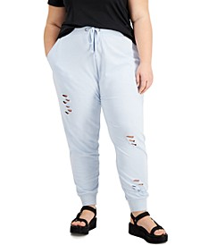 Trendy Plus Size Distressed Joggers
