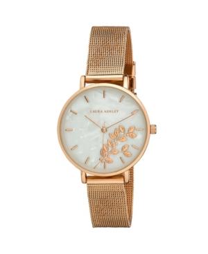 Women's Engraved Floral Printed Rose Gold-Tone Alloy Mesh Band Watch 34mm