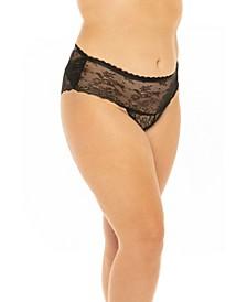 Plus Size Stretch Lace and Decorative Trim Open Back Crotchless Boyshort Panty
