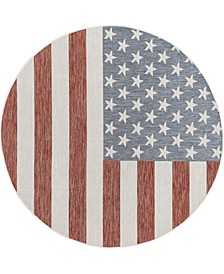 """Outdoor Old Glory 6'7"""" x 6'7"""" Round Area Rug"""