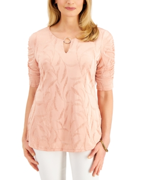 Ruched-Sleeve Ring Top