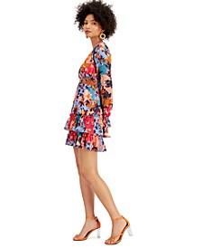 Floral-Print Ruffled V-Neck Mini Dress, Created for Macy's