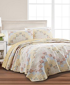 Checker Floral Quilt & Sham Collection, Created for Macy's