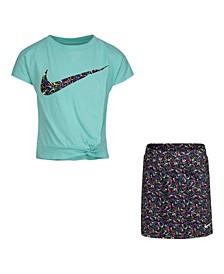 Little Girls T-Shirt and Scooter Skirt Set