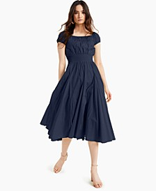 INC Cotton Smocked-Waist Midi Dress, Created for Macy's