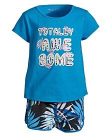 Little Girls 2-Pc. Run Wild T-Shirt & Shorts Set, Created for Macy's