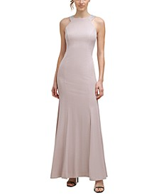 Embellished Metallic Halter Gown