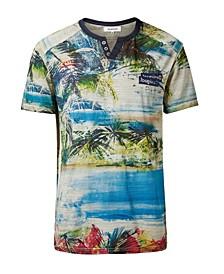 Men's Tropical Mandarin Collar Buttons T-Shirt