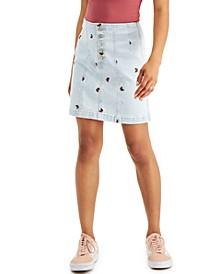 Juniors' Embroidered Denim Skirt