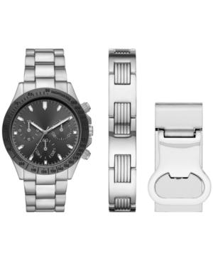 Men's Silver-Tone Bracelet Watch & Bracelet Money Clip Gift Set 43mm