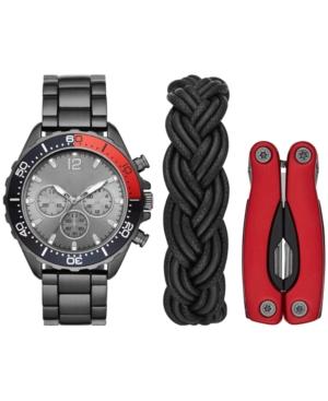 Men's Gunmetal Bracelet Watch & Bracelet Multi-Tool Gift Set 46mm