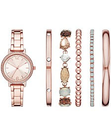 Women's Rose Gold-Tone Bracelet Watch 33mm Gift Set