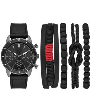 Men's Black Faux-Leather Strap Watch & Bracelets Gift Set 45mm