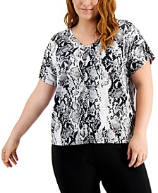 Plus Size Snakeskin-Print Top, Created for Macy's