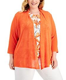 Plus Size Open-Front Knit Cardigan