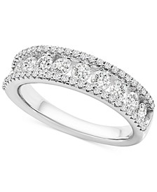 Diamond Triple Row Band (1 ct. t.w.) in 10k White Gold
