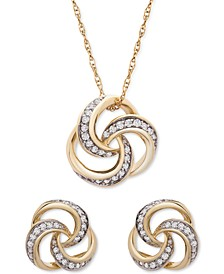 2-Pc. Set Diamond Love Knot Pendant Necklace & Matching Stud Earrings (1/4 ct. t.w.) in 14k Gold
