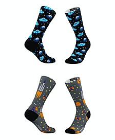 Men's and Women's Blue Blastoff Socks, Set of 2
