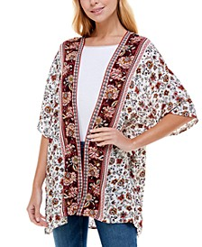 Juniors' Border-Print Kimono