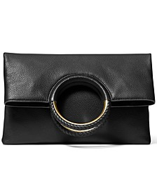 Rosie Large Leather Foldover Ring Clutch