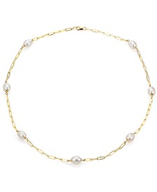 """Cultured Freshwater Pearl (7-8mm) Paperclip Station 18"""" Statement Necklace in 14k Gold"""