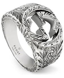 Men's Engraved Logo Statement Ring in Sterling Silver