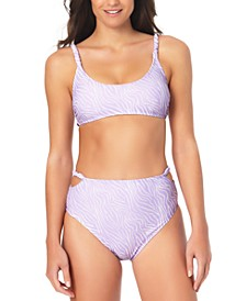 Juniors' Bralette Animal-Print Bikini Top & High Waist Bottoms, Created for Macy's