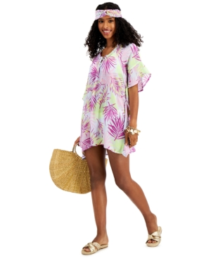 Juniors' Lace-Up Caftan Cover-Up with Headband