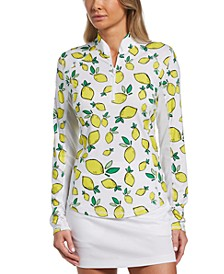 Women's Lemon-Print Long-Sleeved Golf Top