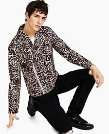Men's Leopard Biker Jacket, Created for Macy's