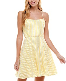 Juniors' Striped Lace-Up Fit & Flare Dress