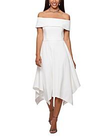 Handkerchief-Hem Off-the-Shoulder Dress