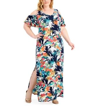Plus Size Printed Cold-Shoulder Maxi Dress
