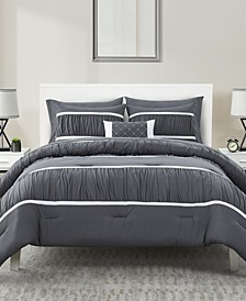 Trisha Ruched 8 Piece Bed-in-a-Bag Full/Queen Comforter Set