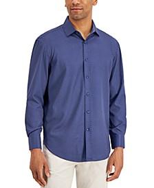 Men's Slim-Fit No-Iron Performance Stretch Navy Dot Print Dress Shirt