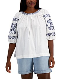 Plus Size Embroidered Smocked Top