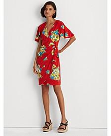 Petite Floral Ruffle-Trim Jersey Dress