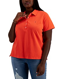 Plus Size Solid Polo Shirt
