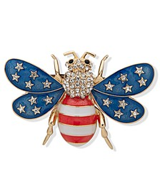 Gold-Tone Pavé Red, White & Blue Bee Pin