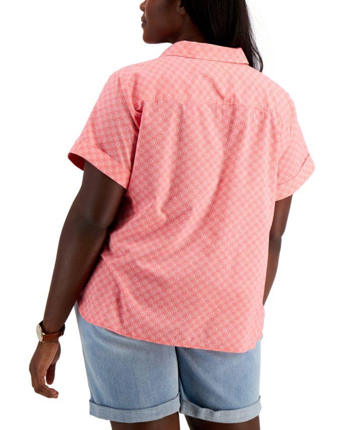 Tommy Hilfiger Plus Size Daisy Camp Shirt & Reviews - Tops - Plus Sizes - Macy's