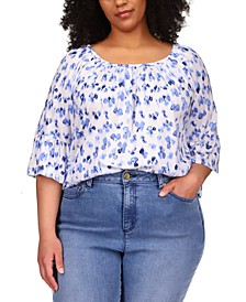 Plus Size Poppy Ikat Gathered Peasant Top