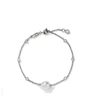 Rhodium Plated Imitation Pearl Line Bracelet